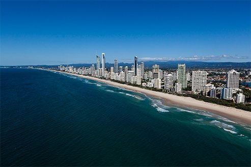 Surfers Paradise Skyline from the ocean