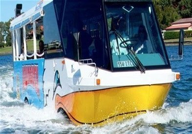 Duck bus on water