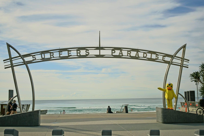Danny Duck under Surfers Paradise Sign