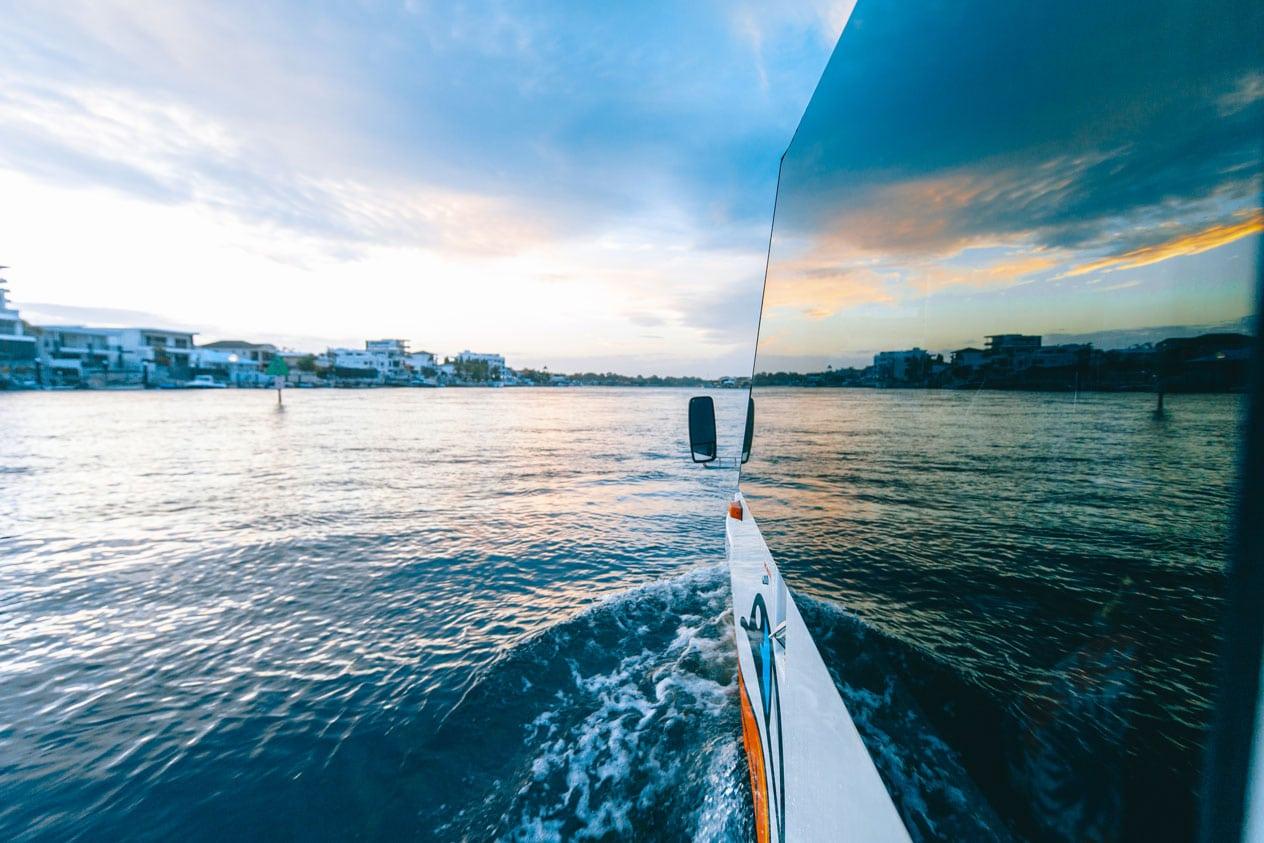 Sunset on the Aquaduck Gold Coast Cruise